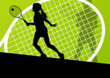 Tennis players detailed silhouettes vector background concept
