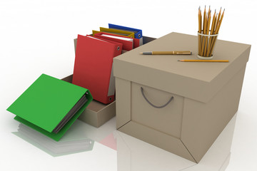 Office supplies with pencils and office folders in cardboard box