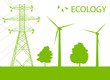 Wind alternative energy generator green vector background and hi