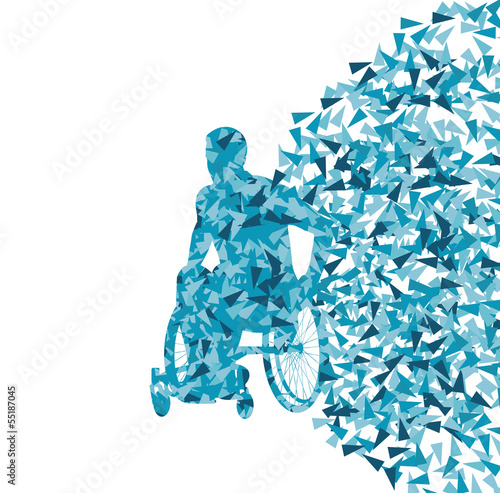 Man in wheelchair, disabled person vector abstract background co