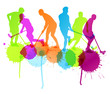 Floorball player vector silhouette background concept with ink s