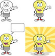 Yellow Light Bulb Cartoon Characters  Set Collection 10