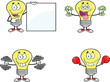 Yellow Light Bulb Cartoon Characters  Set Collection 13