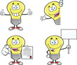 Yellow Light Bulb Cartoon Characters  Set Collection 1