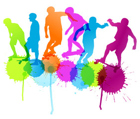 Skateboarders detailed silhouettes vector background concept wit