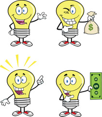 Yellow Light Bulb Cartoon Characters  Set Collection 11