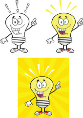 Yellow Light Bulb Cartoon Characters  Set Collection 15
