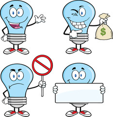 Blue Light Bulb Cartoon Characters  Set Collection 6
