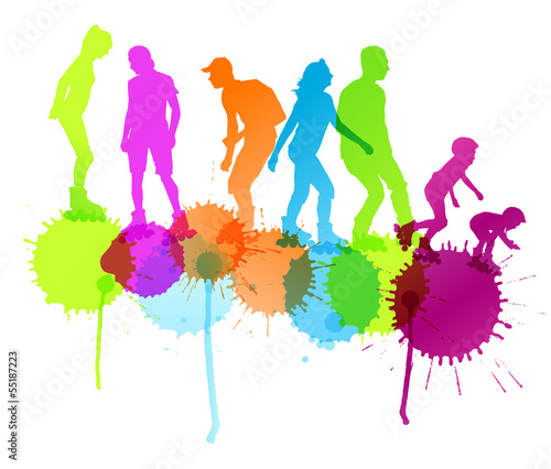 Rollerskating silhouettes vector background concept with ink spl