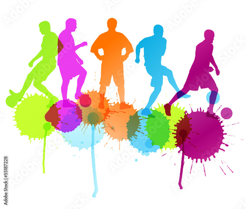 Soccer football player silhouette vector background concept with