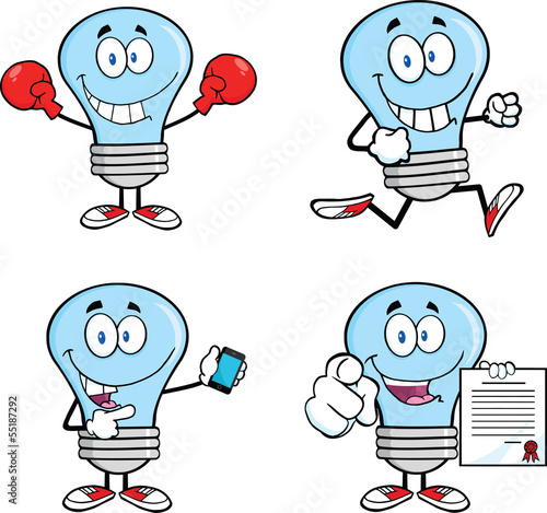 Blue Light Bulb Cartoon Characters  Set Collection 9 © HitToon.com