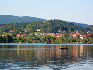 View on small town Horni Plana over the Lipno lake.