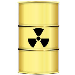 Barrel with radiation sign