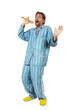 man in pajamas singing