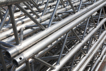 stack of metal trusses