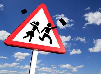 School closed concept, Warning school sign
