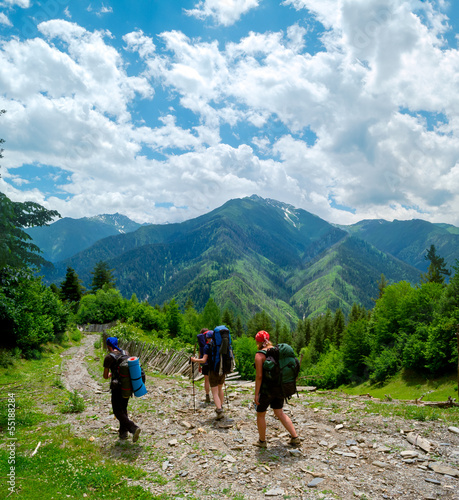 Young women trekking in Svaneti,