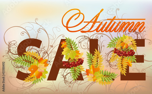 Autumn sale card, vector illustration