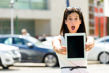 Amazed car sales woman
