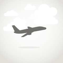 Vacation illustration. Jet with clouds