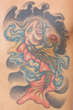 carp, koi fish tattoo on chest - belly of a man poster