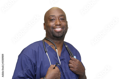 Medical Professional Male with White Copy Space