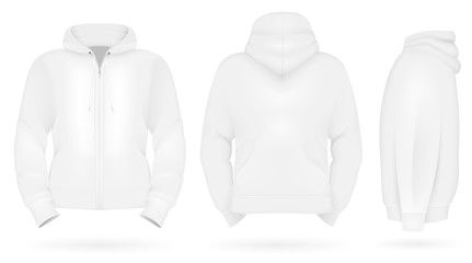 Plain training hoodie template. Front, back and side views.