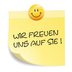 Zettel Smiley - wir freuen uns auf Sie