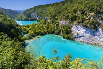 Lakes in forest. Crystal clear water. Plitvice lakes, Croatia