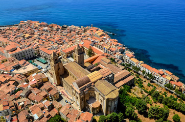 Aerial view of village and cathedral in Cefalu, Sicily