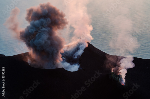 Smoking erupting volcano on Stromboli island, Sicily