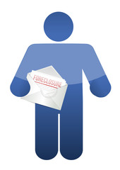 guy holding a foreclosure letter. illustration