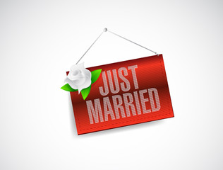 just married hanging banner sign illustration