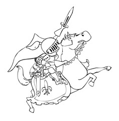 Knight riding a horse - with a raised sword attack