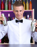 Portrait of handsome barman with two shakers, at bar