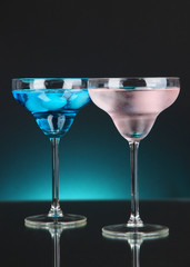 Cocktails on dark color background