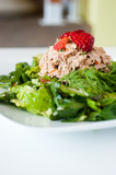 fresh chopped tuna salad topped with strawberries