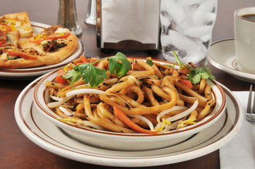 Japanese pan noodles with flatbread appetizers
