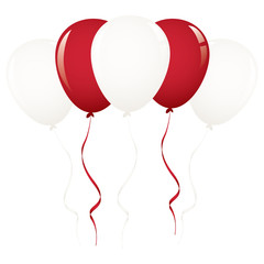 white and red balloon ribbon
