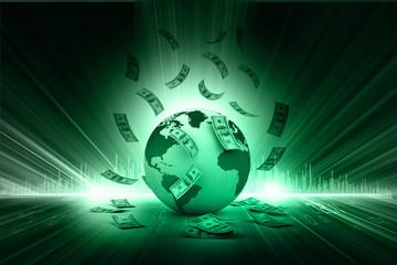 Blue Earth and falling dollar banknotes. Dollar rain