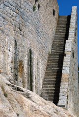 The old historic stone stairs in Calvi,Corsica