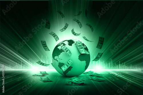 Blue Earth and falling dollar banknotes. Dollar rain