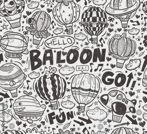 seamless doodle hot air balloon pattern
