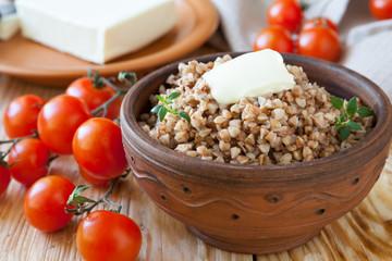nutritious buckwheat porridge with butter