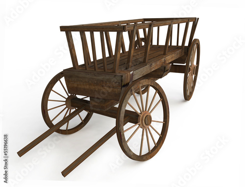 Old Wooden Cart in 3d