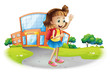 A girl going home from school