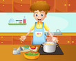 A male chef cooking in the kitchen