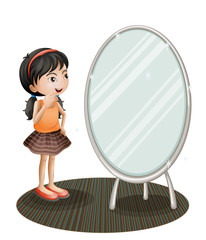 A girl facing the mirror