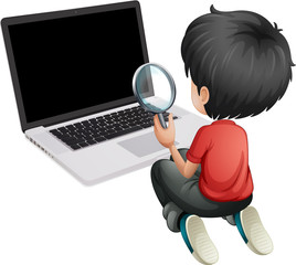A boy in front of a laptop holding a magnifying lens