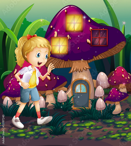 A young girl at the enchanted mushroom house